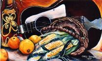 Still Life with Guitar, Oranges and Corn - oil