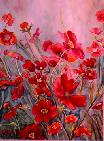 Coquelicots Rouges - aquarelle